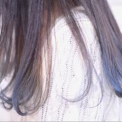 ストリート デート ロング ブルー ヘアスタイルや髪型の写真・画像