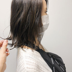 アッシュベージュ ハイライト ロブ ミディアム ヘアスタイルや髪型の写真・画像