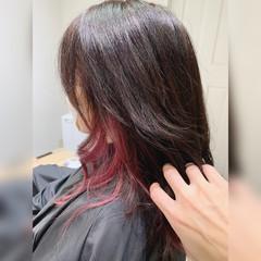 インナーピンク ピンク ピンクアッシュ ロング ヘアスタイルや髪型の写真・画像
