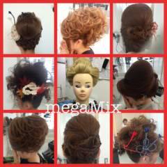 ヘアアレンジ ミディアム お祭り 夜会巻 ヘアスタイルや髪型の写真・画像