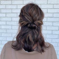 ハイライト ホワイトハイライト コントラストハイライト セミロング ヘアスタイルや髪型の写真・画像