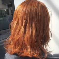 ストリート オレンジベージュ ハイトーン ミディアム ヘアスタイルや髪型の写真・画像