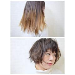 ストレート ボブ 暗髪 レイヤーカット ヘアスタイルや髪型の写真・画像