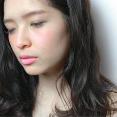黒髪 パーマ 簡単 セミロング ヘアスタイルや髪型の写真・画像