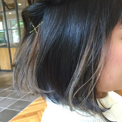 グレージュ ストリート ネイビー ブルージュ ヘアスタイルや髪型の写真・画像