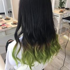 ブリーチ モード グラデーションカラー グリーン ヘアスタイルや髪型の写真・画像