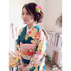 ヘアアレンジ 成人式 編み込み ゆるふわ ヘアスタイルや髪型の写真・画像