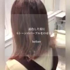 透け感ヘア パープル ミディアム 透明感カラー ヘアスタイルや髪型の写真・画像