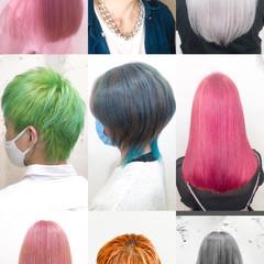 インナーカラー ショート 派手髪 デザインカラー ヘアスタイルや髪型の写真・画像