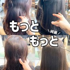 髪質改善 ストレート セミロング 縮毛矯正 ヘアスタイルや髪型の写真・画像