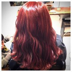 ハイライト 外国人風カラー ピンク レッド ヘアスタイルや髪型の写真・画像