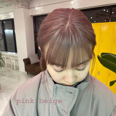 ミルクティーベージュ ハイトーンカラー ピンク ガーリー ヘアスタイルや髪型の写真・画像