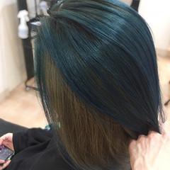 インナーカラー ボブ アッシュ ブリーチ ヘアスタイルや髪型の写真・画像