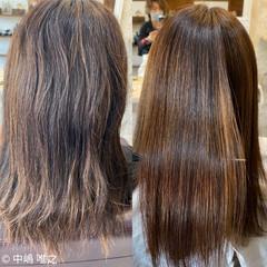 セミロング ハイライト 髪質改善 ナチュラル ヘアスタイルや髪型の写真・画像