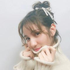 お団子 デート ルーズ ガーリー ヘアスタイルや髪型の写真・画像