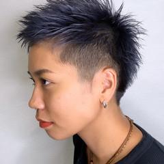 ストリート デニム ダブルカラー ショート ヘアスタイルや髪型の写真・画像