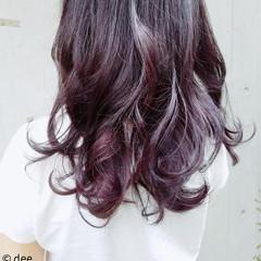 パープル 巻き髪 ロング ピンク ヘアスタイルや髪型の写真・画像