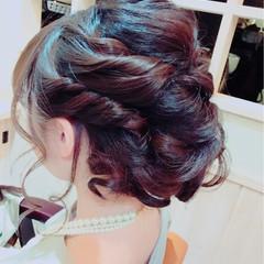 結婚式 ミディアム ヘアアレンジ エレガント ヘアスタイルや髪型の写真・画像