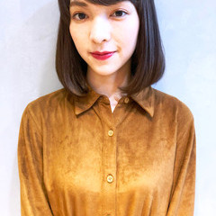 女子力 シースルーバング 切りっぱなし 前髪あり ヘアスタイルや髪型の写真・画像
