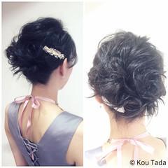 アップスタイル フェミニン ショート 結婚式 ヘアスタイルや髪型の写真・画像