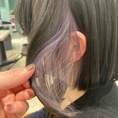 インナーカラーパープル パープルカラー パープル ボブ ヘアスタイルや髪型の写真・画像