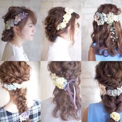 花 セミロング 花嫁 結婚式 ヘアスタイルや髪型の写真・画像