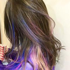 インナーカラー ユニコーンカラー ストリート ハイライト ヘアスタイルや髪型の写真・画像
