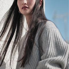 パーマ 縮毛矯正 ストレート 黒髪 ヘアスタイルや髪型の写真・画像