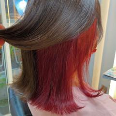 インナーカラー ダブルカラー ミディアム ブリーチ ヘアスタイルや髪型の写真・画像
