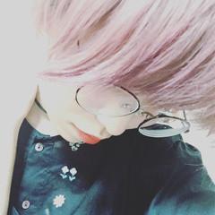 ダブルカラー 透明感 ピンクアッシュ ピンク ヘアスタイルや髪型の写真・画像