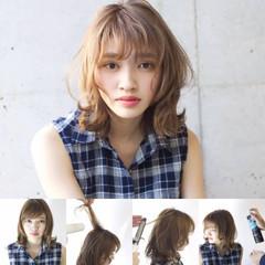 ミディアム ナチュラル ミルクティー パーマ ヘアスタイルや髪型の写真・画像