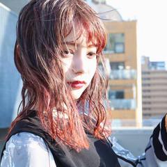 ピンクパープル アプリコットオレンジ オレンジ ピンク ヘアスタイルや髪型の写真・画像