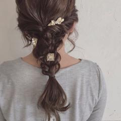編み込み ダークアッシュ イルミナカラー セミロング ヘアスタイルや髪型の写真・画像