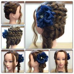 編み込み ヘアアレンジ くるりんぱ フィッシュボーン ヘアスタイルや髪型の写真・画像