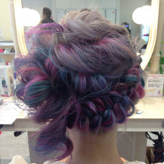 個性的 編み込み 結婚式 ヘアアレンジ ヘアスタイルや髪型の写真・画像