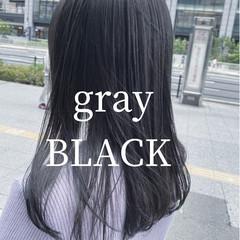 ミディアム 韓国 韓国風ヘアー グレージュ ヘアスタイルや髪型の写真・画像