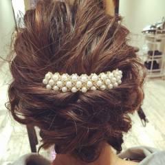 くるりんぱ 大人かわいい 結婚式 セミロング ヘアスタイルや髪型の写真・画像