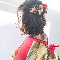 フェミニン 成人式ヘア 成人式 ミニボブ ヘアスタイルや髪型の写真・画像