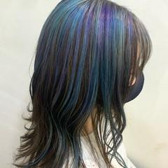 ユニコーン ユニコーンカラー セミロング ウェーブヘア ヘアスタイルや髪型の写真・画像