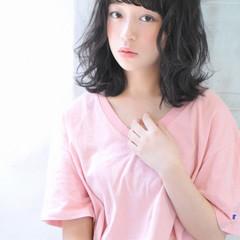 ピュア ミディアム 大人かわいい 外ハネ ヘアスタイルや髪型の写真・画像