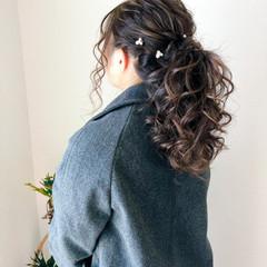 ヘアセット フェミニン セミロング ポニーテール ヘアスタイルや髪型の写真・画像