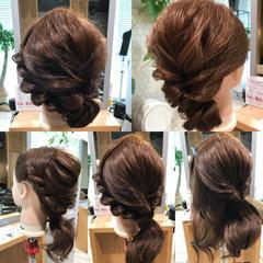 ヘアアレンジ くるりんぱ 簡単 セミロング ヘアスタイルや髪型の写真・画像