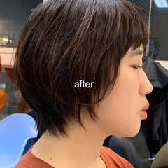 オフィス デート ショート 大人カジュアル ヘアスタイルや髪型の写真・画像