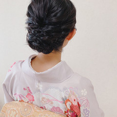 ミディアム 着物 黒髪 エレガント ヘアスタイルや髪型の写真・画像