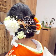アップスタイル 振袖 セミロング ヘアアレンジ ヘアスタイルや髪型の写真・画像