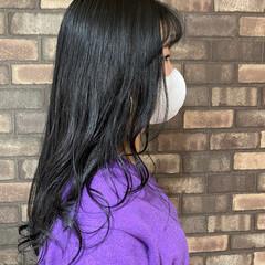 透明感 イルミナカラー シースルーバング セミロング ヘアスタイルや髪型の写真・画像