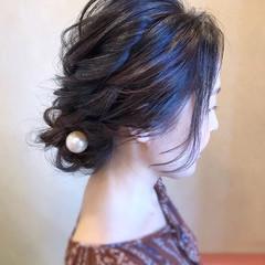 エレガント ヘアアレンジ 黒髪 ロング ヘアスタイルや髪型の写真・画像