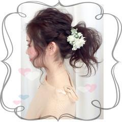 ミディアム 簡単ヘアアレンジ 外国人風 フェミニン ヘアスタイルや髪型の写真・画像