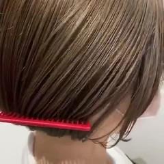 ミニボブ 切りっぱなしボブ 透明感カラー ボブ ヘアスタイルや髪型の写真・画像