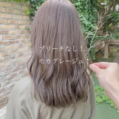 ブリーチなし ミルクティーベージュ ヘアカラー ベージュ ヘアスタイルや髪型の写真・画像